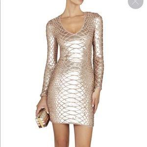 BCBGMaxAzria Gold Sequin Long Sleeve Dress